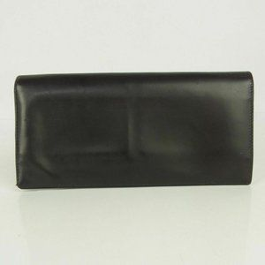 Authentic PRADA Logos Leather Bifold Long Wallet Purse Brown Italy